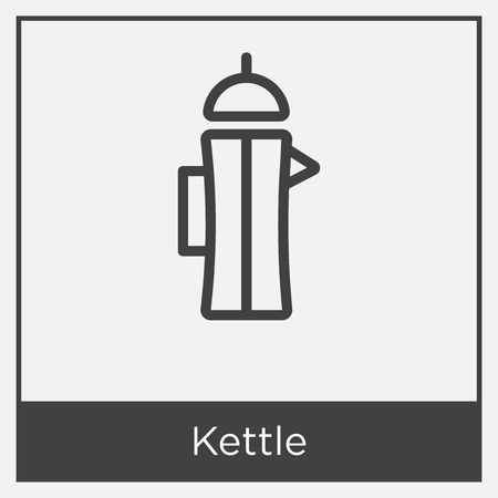 Kettle icon isolated on white background with gray frame, sign and symbol