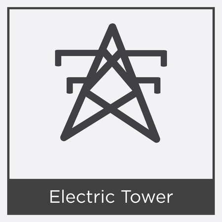 Electric Tower icon isolated on white background with gray frame, sign and symbol Illustration