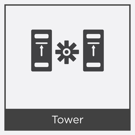 Tower icon isolated on white background with gray frame, sign and symbol