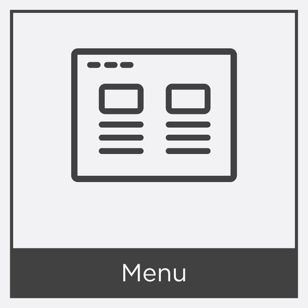 Menu icon isolated on white background with gray frame, sign and symbol