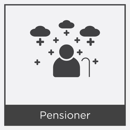 Pensioner icon isolated on white background with gray frame, sign and symbol.