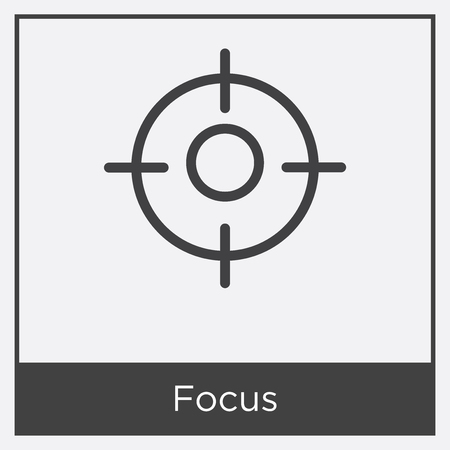 Focus icon isolated on white background with gray frame, sign and symbol. Illustration