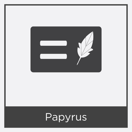 Papyrus icon isolated on white background with gray frame, sign and symbol Foto de archivo - 100952142