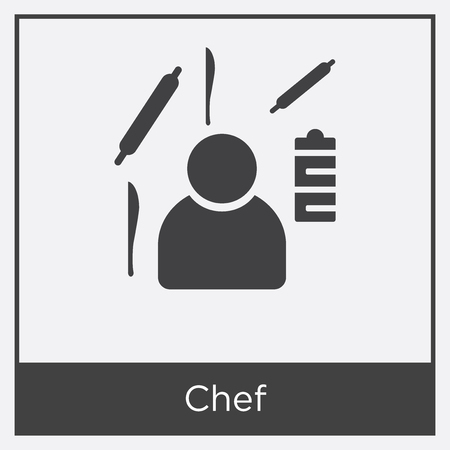 Chef icon isolated on white background with gray frame, sign and symbol.