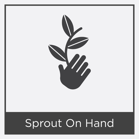 Sprout on hand icon isolated on white background with gray frame, sign and symbol.