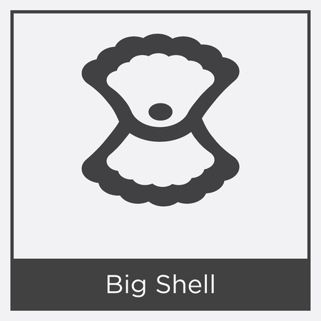 Big Shell icon isolated on white background with gray frame, sign and symbol. Illustration