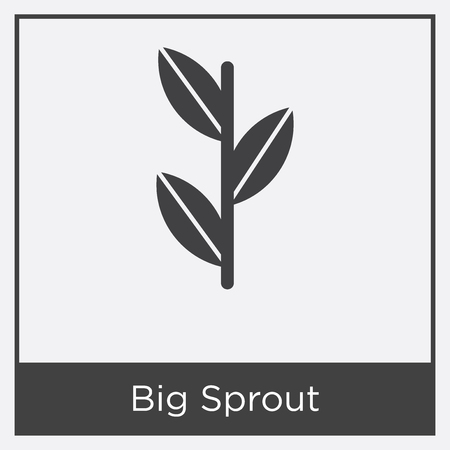 Big Sprout icon isolated on white background with gray frame, sign and symbol