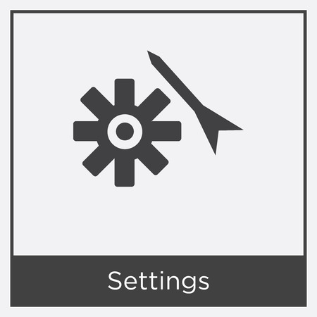 Settings icon isolated on white background with gray frame, sign and symbol. Illustration