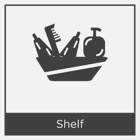 Shelf icon isolated on white background with gray frame, sign and symbol.