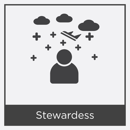 Stewardess icon isolated on white background with gray frame, sign and symbol.