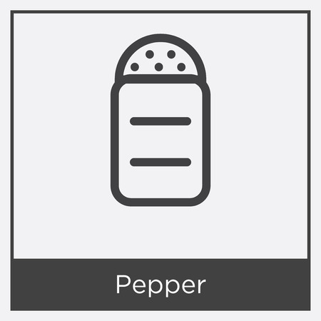 Pepper icon isolated on white background with gray frame, sign and symbol. Illustration