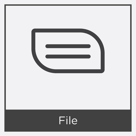 File icon isolated on white background with gray frame, sign and symbol.