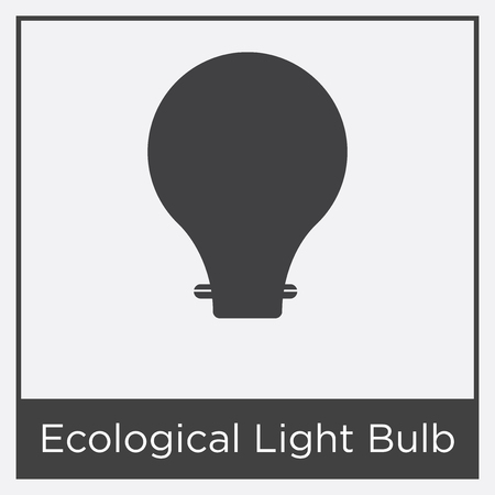 Ecological light bulb icon isolated on white background with gray frame, sign and symbol.