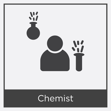 Chemist icon isolated on white background with gray frame, sign and symbol.
