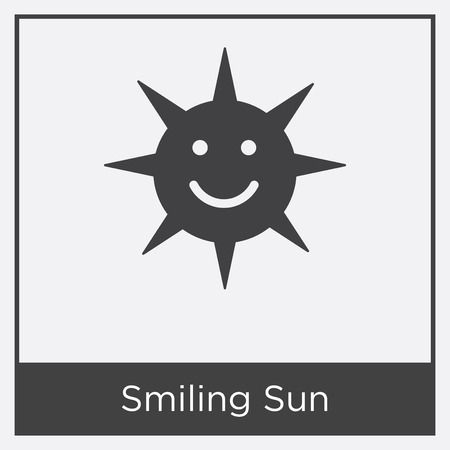 Smiling sun icon isolated on white background with gray frame, sign and symbol.