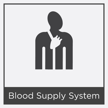 Blood supply system icon isolated on white background with gray frame, sign and symbol. Illustration