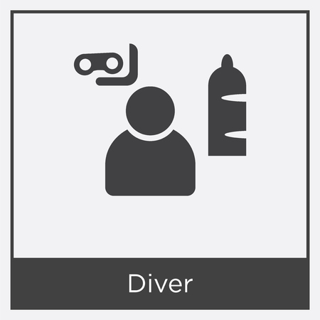 Diver icon isolated on white background with gray frame, sign and symbol.