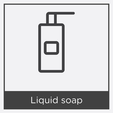 Liquid soap icon isolated on white background with gray frame, sign and symbol.