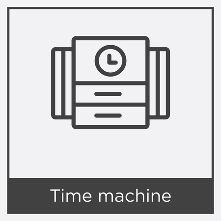 Time machine icon isolated on white background with gray frame, sign and symbol