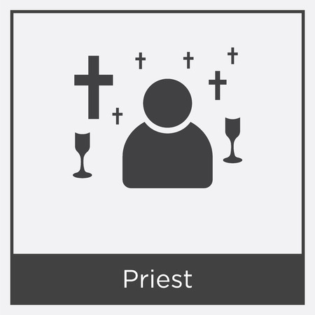 Priest icon isolated on white background with gray frame, sign and symbol Illustration