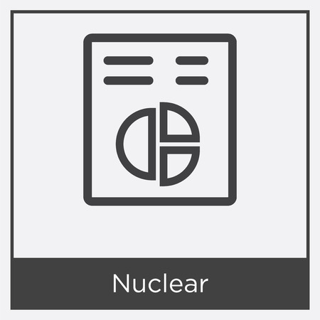 Nuclear icon isolated on white background with gray frame, sign and symbol.