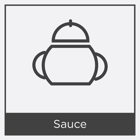 Sauce container icon isolated on white background with gray frame, sign and symbol. Illustration