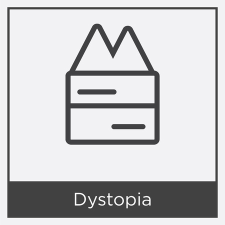 Dystopia icon isolated on white background with gray frame, sign and symbol