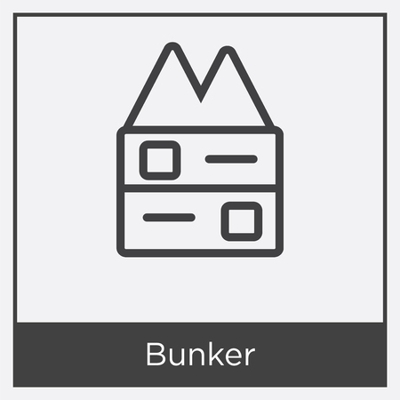 Bunker icon isolated on white background with gray frame, sign and symbol. Иллюстрация