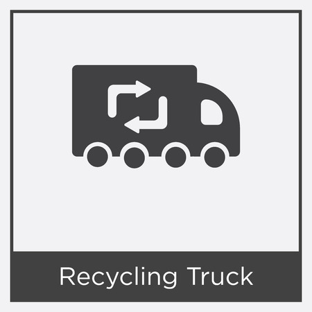 Recycling truck icon isolated on white background with gray frame, sign and symbol.