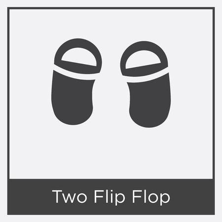 Two flip flops icon isolated on white background with gray frame, sign and symbol.