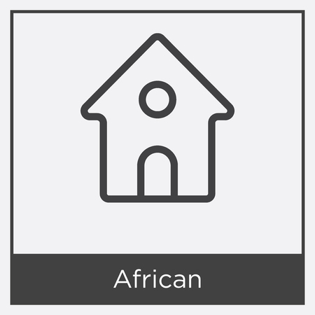 House icon isolated on white background with gray frame, sign and symbol. Illustration