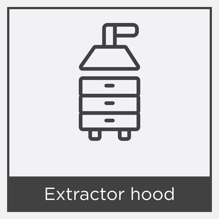 Extractor hood icon isolated on white background with gray frame, sign and symbol.