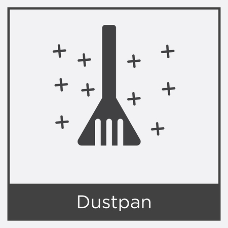 Dustpan icon isolated on white background with gray frame, sign and symbol