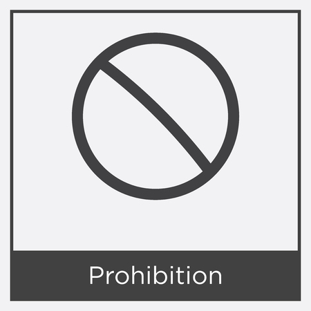 Prohibition icon isolated on white background with gray frame, sign and symbol Illustration