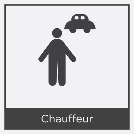 Chauffeur icon isolated on white background with gray frame, sign and symbol.