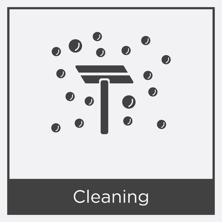 Cleaning icon isolated on white background with gray frame, sign and symbol
