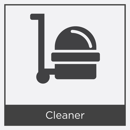 Cleaner icon isolated on white background with gray frame, sign and symbol