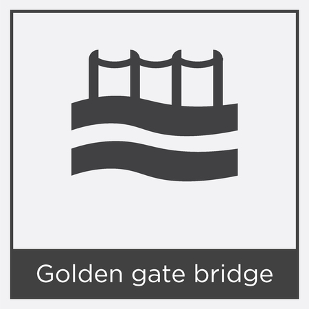 Golden gate bridge icon isolated on white background with gray frame, sign and symbol Stock Illustratie