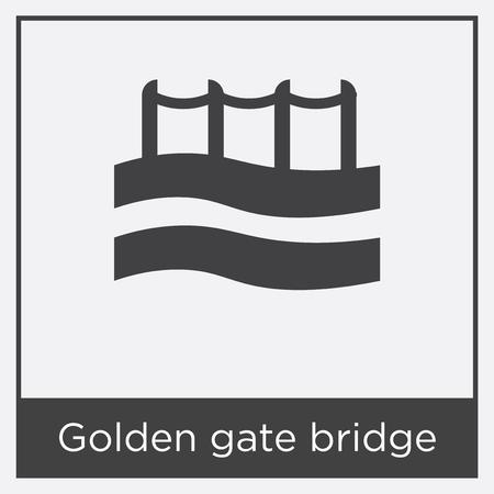 Icône de pont Golden Gate isolé sur fond blanc avec cadre gris, signe et symbole