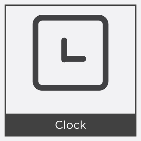 Clock icon isolated on white background with gray frame, sign and symbol