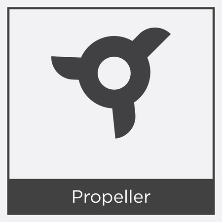 Propeller icon isolated on white background with gray frame, sign and symbol