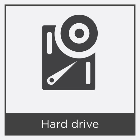 Hard drive icon isolated on white background with gray frame, sign and symbol