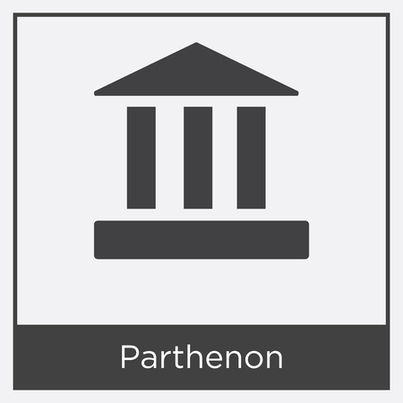 Parthenon icon isolated on white background with gray frame, sign and symbol