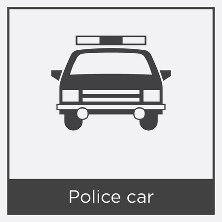 Police car icon isolated on white background with gray frame, sign and symbol