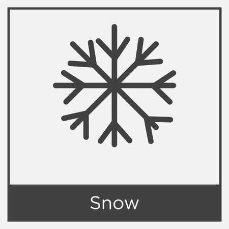 Snow icon isolated on white background with gray frame, sign and symbol
