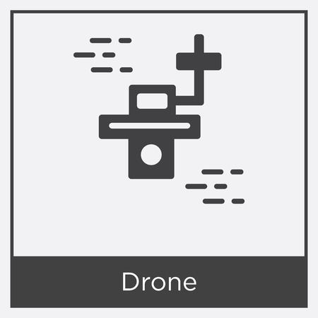 Drone icon isolated on white background with gray frame, sign and symbol Illustration