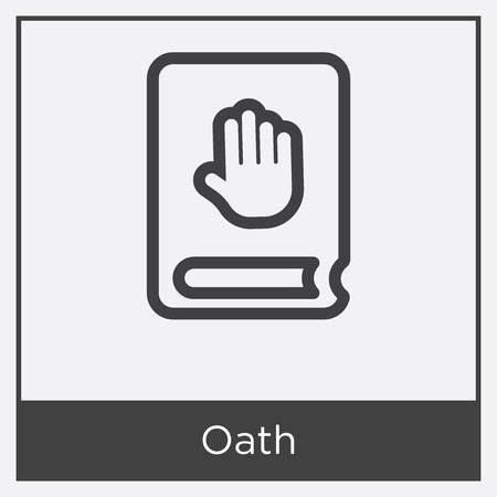 Oath icon isolated on white background with gray frame, sign and symbol