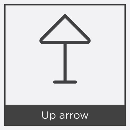 Up arrow icon isolated on white background with gray frame, sign and symbol