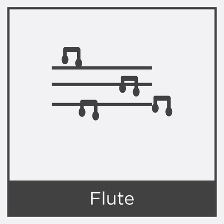 Flute icon isolated on white background with gray frame, sign and symbol