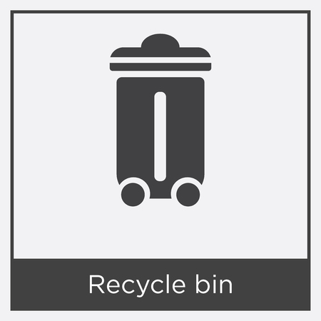 Recycle bin icon isolated on white background with gray frame, sign and symbol